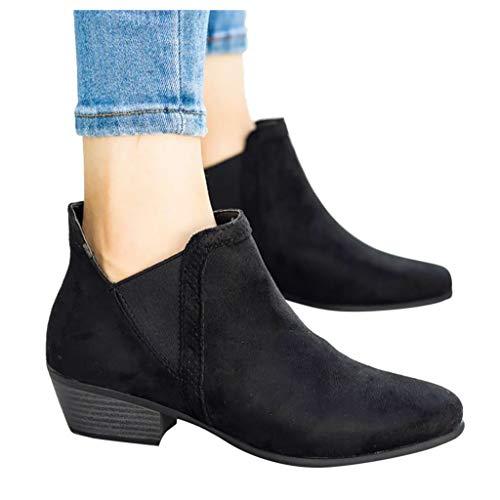 DNOQN Damen Freizeit Rom Solide Große Med Heels Schlüpfen Kurze Stiefel Schuhe Schwarz 41