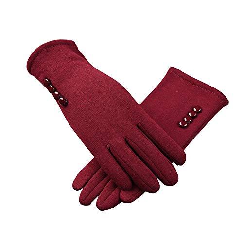 Guantes de invierno para mujer con diseño de botones de forro polar grueso cálido cómodo y suave forro térmico