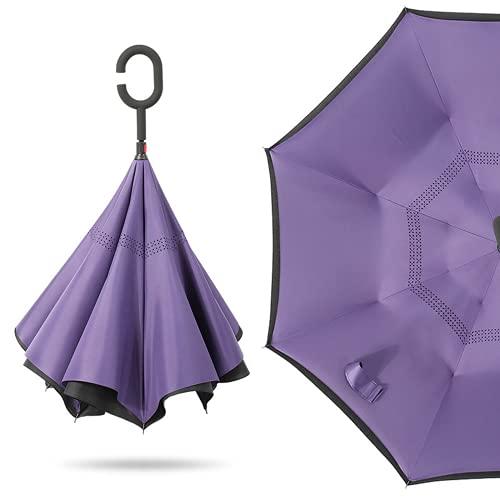 Regenschirm Antisembrature umgekehrte winddichte Regenschirm, Frau mit ultravioletter Schutzfunktion mit Regenschirm, Regenschirm Cförmiger Griff des Regenschirms mit Regenschirm