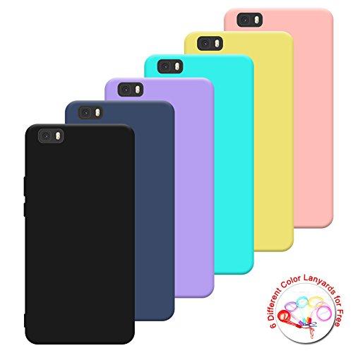"""Silingsan 6X Cover Huawei P8 Lite (5.0""""), Cover Colore Caramella Custodia Morbido Morbido Custodia Antiscivolo Ultra Slim Silicone Case (Nero Blu Scuro Giallo Viola Verde Rosa) + 6 Cordino"""