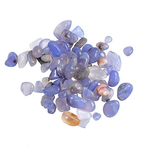 Garneck 2Er Pack Zerkleinerte Kristallsteine ??Natursteine ??Kieselsteine ??Kristallgestürzte Chips Steine ??Für Aquarien Aquarium Blumentopf Blauer Achat