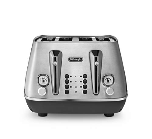 De'Longhi Distinta X Design 4 Slice Toaster, Dual Browning Control, Reheat/Defrost/Bagel Function CTI4003.M - Brushed Steel