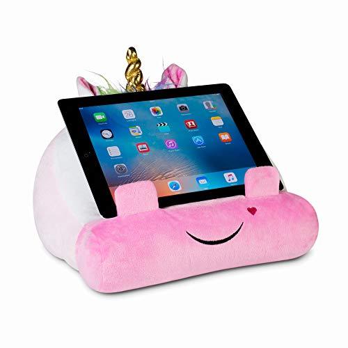 Cuddly Reader - Soporte para iPad, soporte para tableta y libro, almohada de lectura para niños y niños, para leer en la cama, viajes, almohada de cojín suave (unicornio)