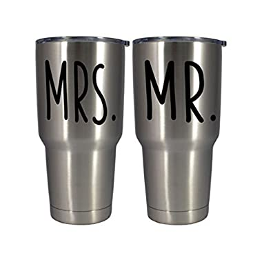 Mr. & Mrs. Tumbler Set - 2 30oz Stainless Steel Polar Pro Double Wall Insulated Bride Groom Honeymoon Cups with Lid