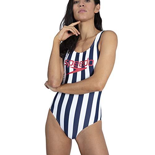 Speedo Ice Cre con Espalda En U Bañador, Mujer, Ice Cream Navy/White, 28 (UK 6)