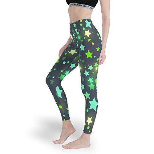 Star Sky - Leggings de yoga para niñas, sin costuras, para ocio diario, pantalones de control de barriga, mallas para mujer