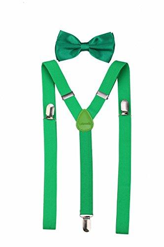 Klassische, feste Hosenträger mit passender Fliege für Herren Gr. Einheitsgröße, grün