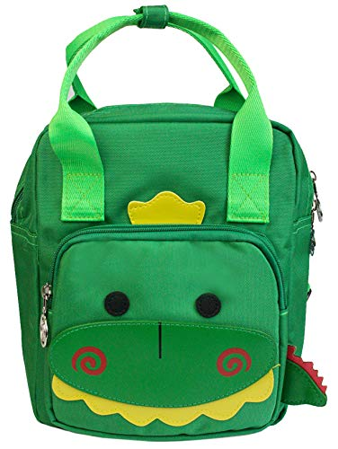 Emartbuy Zaino per Bambini Carino Cartone Animato Nursery Animale Borsa Scuola Prescolastico Borsa da Viaggio - Dinosauro Verde