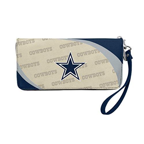 Littlearth Dallas Cowboys Curve Zip Organizer Wallet NFL, Team Color, 4†H x 8  W x 1†D (300902-COWB)
