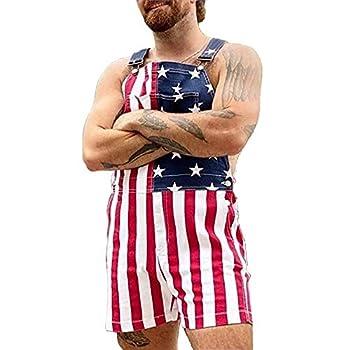 American Flag Overalls Bib Denim Shorts Jean Romper Casual Workout Summer Adjustable Strap Jumpsuit for Men Women