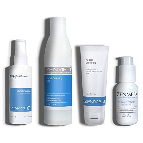 ZENMED Acne Therapy for Combination Skin with Facial Cleansing Gel, AHA/BHA Complex, Acne Gel, Oil-Free Day Lotion