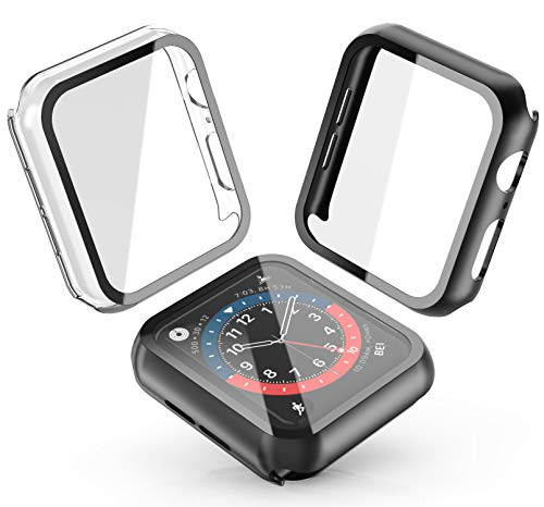 [2-Pack] Julk Hard Case for Apple Watch Series 6 / SE/Series 5 / Series 4 44mm, 2020 New iWatch PC Overall Protective Cover with Slim Tempered Glass Screen Protector (1 Black+1 Transparent)