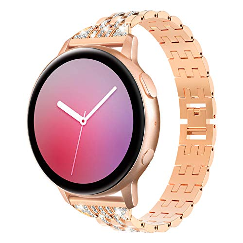 TiMOVO 20mm Correa Compatible con Galaxy Watch 42mm/Active/Active 2/Gear Sport/Garmin Vivomove/HR/Vivoactive 3, Pulsera de Aleación de Metal con Incrustaciones de Diamantes Ajustable - Oro Rosa