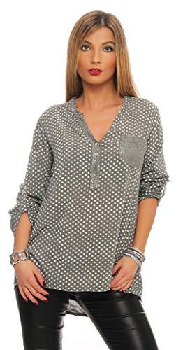 152 MississhopDamen Gepunktete Bluse Hemd mit Muster Langarm Shirt Top Longshirt mit Glitzer Pailletten Details Oliv