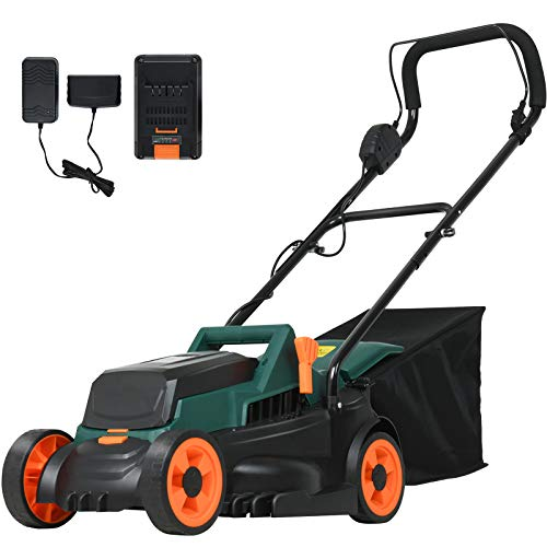 SUNCOO 40V Lawn Mower Battery Powered, 13-Inch Cordless Rotary Mowers, 25Amp Push Grass Cutter with 7 Gal. Grass Catcher, 4Ah Battery& Charger