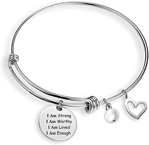 G-Ahora I Am Enough Bracelet I Am Strong I Am Worthy I Am Loved I Am Enough Strength Bracelet Inspirational Bracelet for Women Enouragement Jewelry