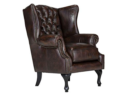 Woodkings® Chesterfield Ohrensessel Pittsfield Sessel antik braun Echtleder Bürosessel Lesesessel Polstermöbel...