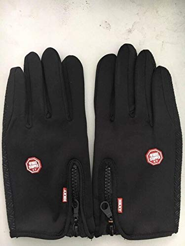 New ladies and men's universal ski outdoor riding warm winter touch screen snow windshield gloves selling-Black-12-L