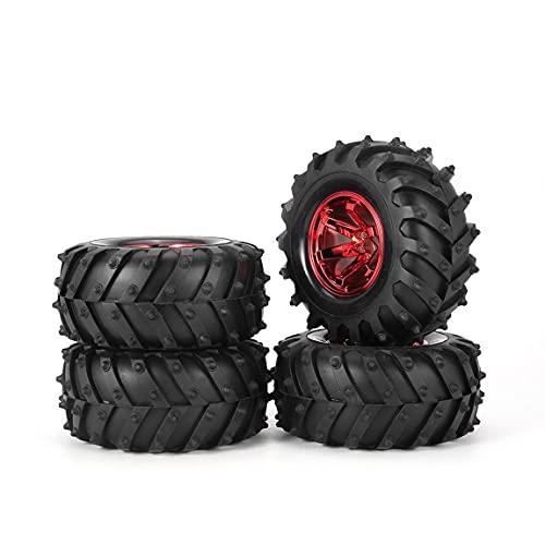 bansd Rueda De Neumático De Goma con Borde De 4 Piezas De 125 Mm para 1/10 RC, Modelo De Coches De Pies Grandes, Rojo