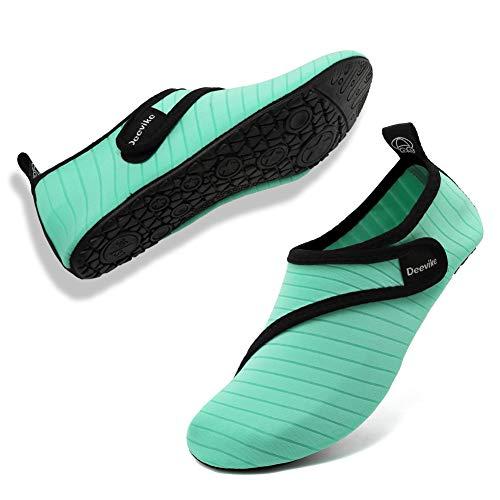 Deevike Damen Wasserschuhe Herren Badeschuhe Unisex Schwimmschuhe Barfussschuhe Aqua Socken für Beach Pool Surfen Yoga Reines Grün 40/41
