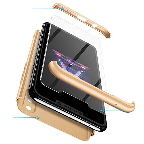 cmdkd Funda Compatible con Huawei Nova 3i/P Smart Plus,Case Bumper 3 en 1 Estructura 360 Grados Integral para Ambas Caras Hard Skin Carcasa + Cristal Templado.Oro
