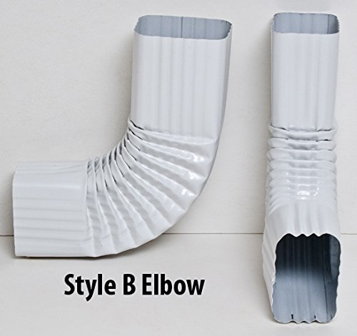 Aquabarrel 90 Degree Downspout Elbow Bell End | Super Easy Installation | 3x4 inches | Style A and B (Style B, White)