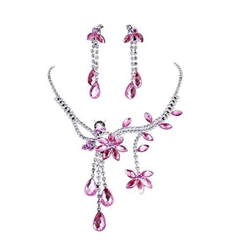 Ellaao Orecchini e collana Set per donna Orecchini ciondolo collana strass Orecchini Set gioielli donna