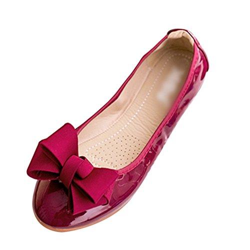 Jitong Slip-on Scarpe da Barca per Donna Tinta Unita Bowknot Mocassini Piatti Comode Loafers (Vino Rosso, Asia 38)