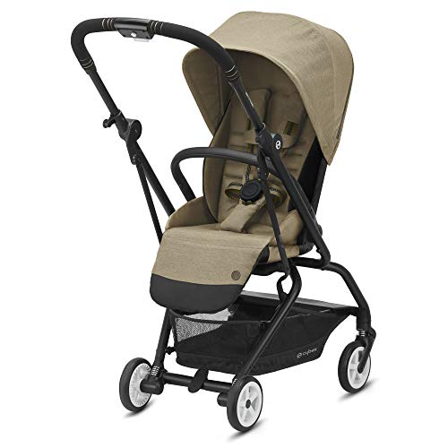Cybex Eezy S Twist 2 Stroller, 360° Rotating Seat, Parent or Forward Facing, One-Hand Recline, Compact Fold, Lightweight Travel Stroller, for Infants 6 Months+, Classic Beige