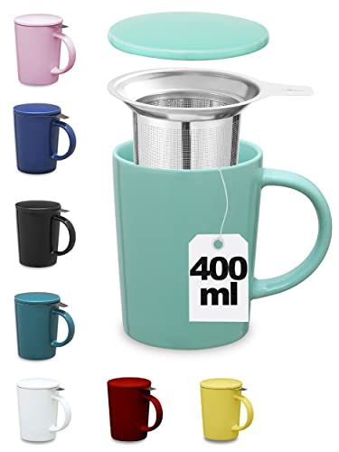 Taza para Te con Tapa y Filtro - Ceramica - XL 400ml Grande - Azul Turquesa - Para Infusion, Tisana, Desayuno