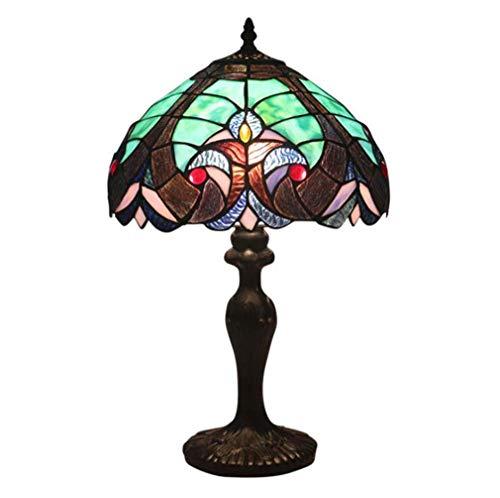 Tiffany lamp 12 inch groen blauw glas kleurrijke scherm bronskleurige antieke tafellamp voor woonkamer slaapkamer leestafel tafel