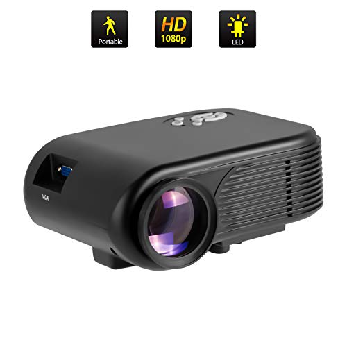 ODLICNO Mini Proyector Portátil , Multimedia Proyector de Cine en casa, proyector Compatible con Full HD 1080P HDMI, VGA, Dual USB, AV, TF Computadora Portátil, Teléfono Inteligente (Negro)