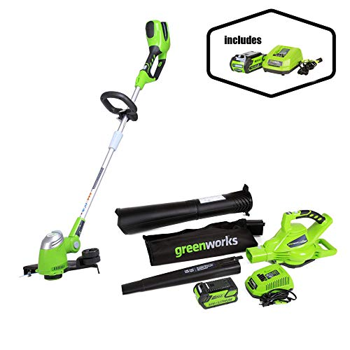Greenworks 40V 185 MPH Variable Speed Cordless Blower Vacuum, 4.0 AH Battery Included 24322 with  13-Inch 40V Cordless String Trimmer, 2.0 AH Battery Included 21302