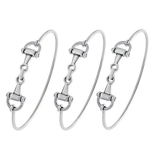 SENFAI Horse Snaffle Bit Hook Clasp Charm Bracelet Bangle Jewelry (Antique Plated Bracelet 3 pcs Set, Rhodium-Plated-Base-Metal)