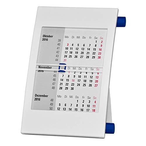 Truento 3-Monats-Tischkalender für 2 Jahre (2021 & 2022) - mit Drehmechanik - weiß/blau