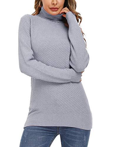 Aibrou Jersey de Manga Larga para Mujer Sólido Ligero Suave Elástico Jerseys Jersey de Cuello Alto...