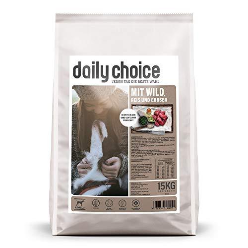 daily choice Basic | 30 kg | Trockenfutter für Hunde | mit Wild, Reis und Erbsen | Keine minderwertigen Kohlenhydrate | Weizenfrei | Mit Grünlippmuschel und Chicorée