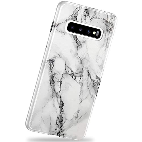 VIVIBIN Samsung Galaxy S10 Case,Black White Marble for Men Women Girls,Anti-Scratch Slim Fit Silicone TPU Cover with Clear Bumper Protective Phone Case for Samsung Galaxy S10 6.1 inch 2019