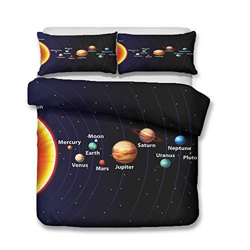 QWAS Bettwäsche Raum Planet Astronauten Muster Serie Bettbezug weiche hochwertige Mikrofaser Bettdecke Bettbezug (A4,135x200cm+80x80cmx2)