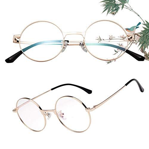 老眼鏡 丸メガネ 正円 軽い ブルーライトカット チタン合金 ケース付き ユニセックス メンズ レディース リーディンググラス 度付き ゴールド 度数+250 L8313