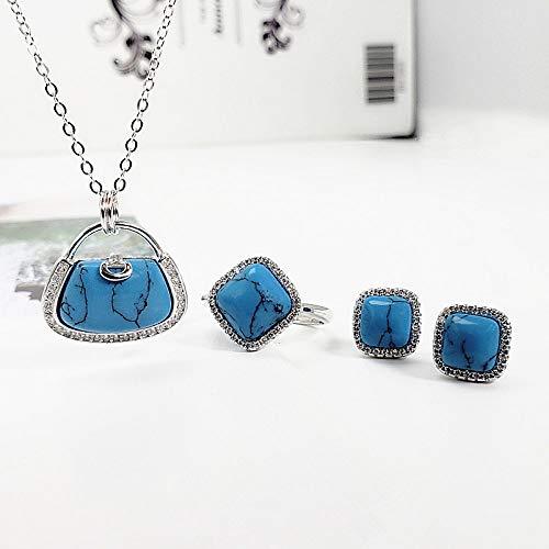 Mode S 925 sterling zilver halsketting opening ringen oorbellen vrouwen sieraden handtas hanger blauw turquoise retro classic creatief charme high-end cadeau