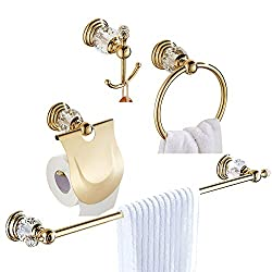 WOMAO Zinc Alloy with Crystal Gold Bathroom Accessory Sets