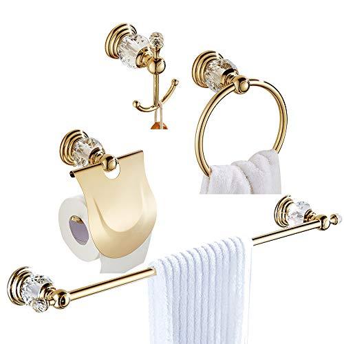 WOMAO Oro Juego de Accesorios de baño de 4 Piezas. Aleació