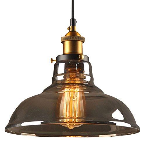 Cozyle Edison-Deckenleuchte, modernes Glas, mit Vintage-Bronze-Lampenhalter, Hängeleuchte für Bar, Restaurant, Café, Zuhause Klassisch Smoke Loft