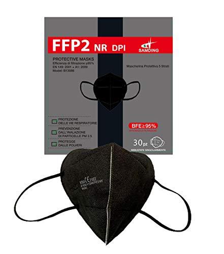 FFP2 Nere Certificate 30 pezzi Samding Nere Mascherine DPI Protettive CE 2163 Filtranti 5 strati 95% Imbustate Singolarmente. Confezione venduta in box da 30 pezzi