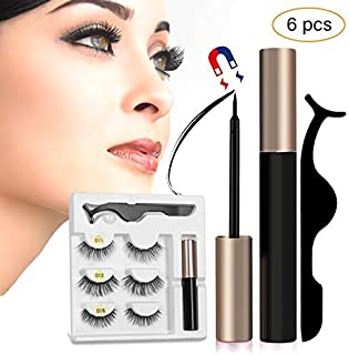 Coolours Magnetic Eyeliner With Magnetic Eyelashes, Magnetic Eyelashes Kit False Lashes 3 Style with Tweezers
