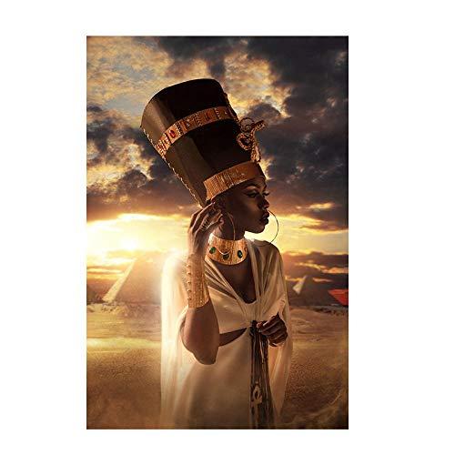 Zwart en goud Afrikaanse vrouw schilderij zonsondergang olieverf foto poster en print woonkamer muurschildering foto