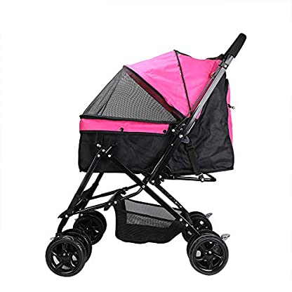 Display4top Pink Pet Travel Stroller, Foldable Four-Wheeled Trolley Suspension Commutation Cat and Dog Cart Large Travel Supplies Travel Goods Gear 6