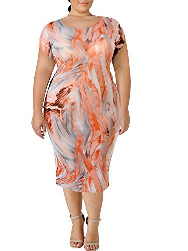 Plus Size Bodycon Dress Summer Short Sleeve Stretchy African Print Tie Dye Graffiti Midi Bodycon Pencil Oversized Curvy Out Size Plus Size Dresses Spring Fall Autumn Party Casual Orange 4X 26W 28W