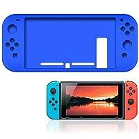 Nintendo Switch Joy-Con シリコン カバー 9Hガラスフィルム セット 一体型 耐衝撃 ブルー AIGS-SWSL-CLBL